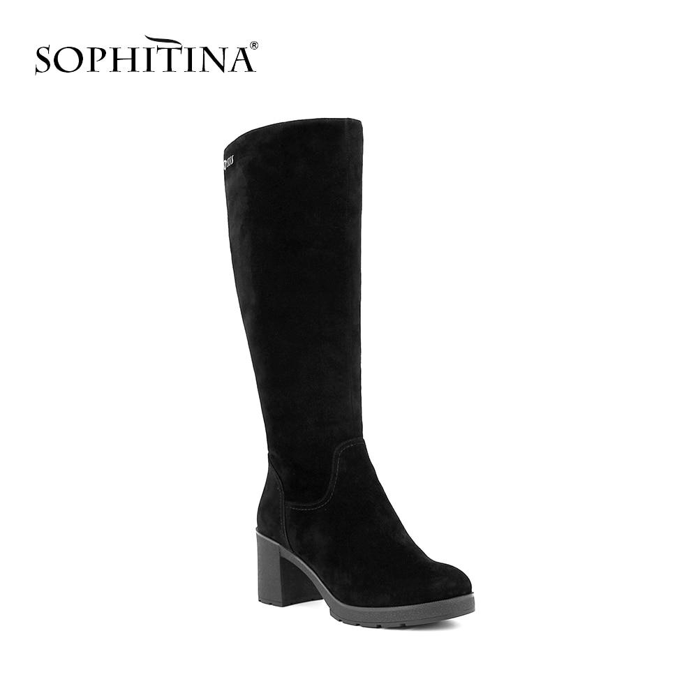 SOPHITINA ручной работы теплая шерсть качественная Малыш замши круглый носок обувь на высоком квадратном каблуке пикантные сапоги до колена ве...