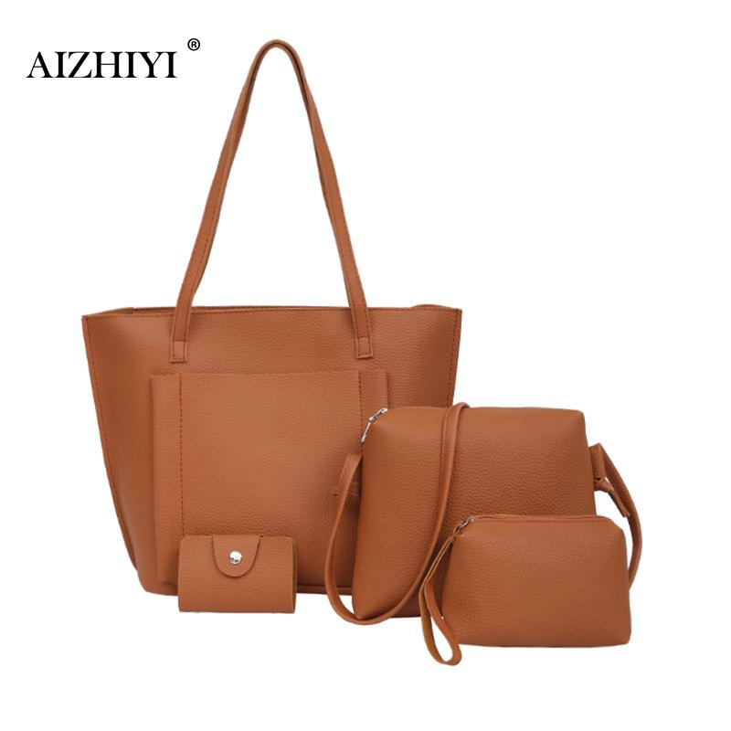 Baellerry 4pcs Women Pu Leather Handbag Composite Bag Simple Crossbody Bag Female Clutch Shoulder Bags Set Card Holder Purse Top-handle Bags Luggage & Bags