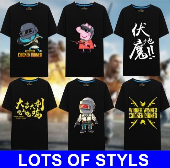 LOTS STYLES women men hot FPS game Player unknown's Battlegrounds COTTON t shirts PUBG shirt Winner Chicken dinner t shirts