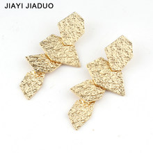 Jiayijiaudo Metal Hammered Geometric Drop Earrings Dangle Earrings Bohemia Ethnic Earrings Gift Earrings For Women New(China)