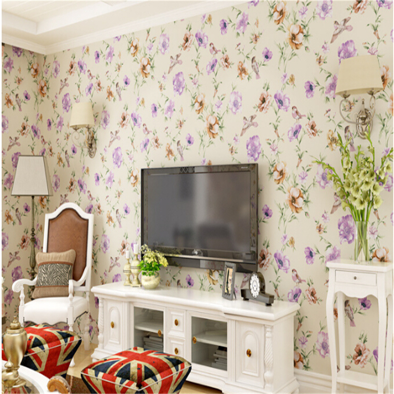 beibehang wallpaper for walls 3d Non woven bird flowers romantic pastoral bedroom living room TV backdrop wallpaper papier peint book knowledge power channel creative 3d large mural wallpaper 3d bedroom living room tv backdrop painting wallpaper