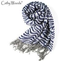 2016 vintage Zebra printed mujer bufanda invierno bufanda a rayas con borlas bufanda volie señoras sjaaltjes mantón mujeres/hombres Bufandas