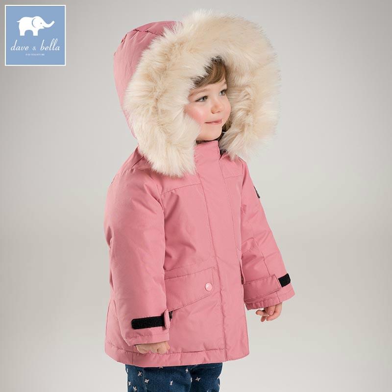 DB6328-G dave bella winter baby girls down jacket children 90% white duck down padding coat kids hooded outerwear 2018 brand winter children s duck down outerwear