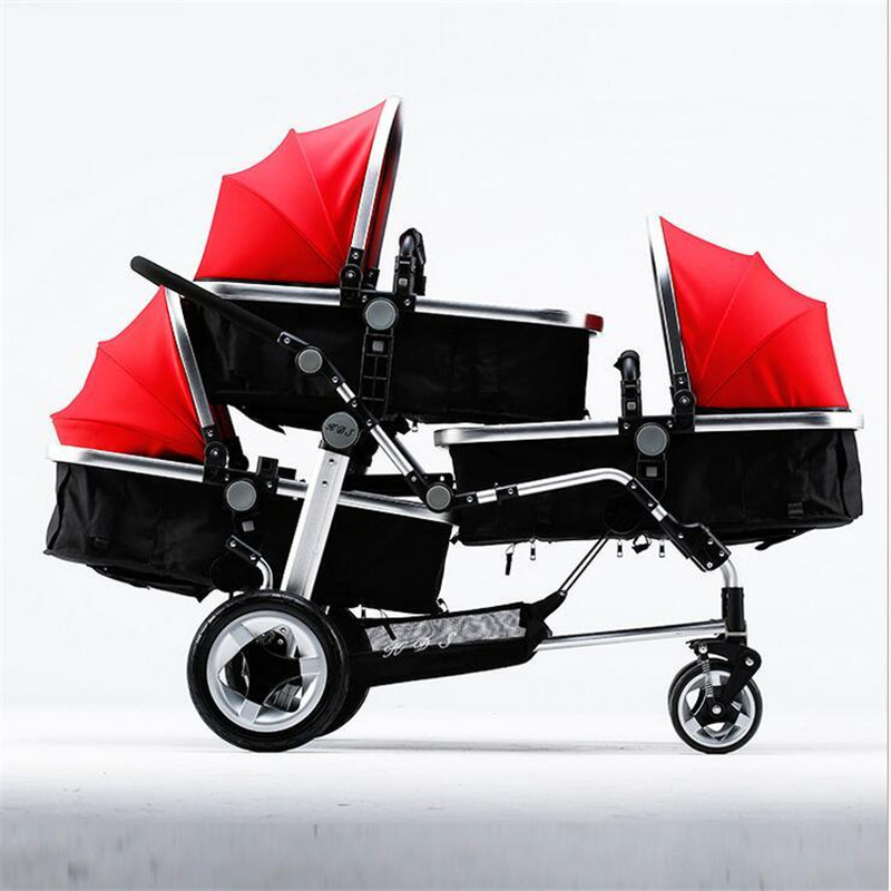 Baby Pushchair 3 in 1 Three Babies Triplets Stroller Car Multifunction Kids Trolleys High landscape Four Carts 3 Years Warraty avoid the ultraviolet radiation with the canopy pushchair baby build a safe soft environment for babies boys and girls pushchair