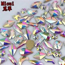 Micui 36pcs Multiple shapes  AB Clear Glass Crystal Flat back Rhinestones Glue On Non Hotfix 3D Nail Art Decoration MC15