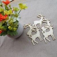 50pcs Lot Blank Unfinished Wooden Sika Deer Crafts Supplies Laser Cut Rustic Wood Wedding DIY