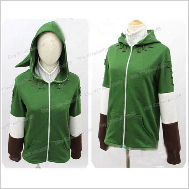 The Legend of Zelda Zip Up Top Link Green Hoodie Hooded Sweater Cosplay Costume with Minish Cap