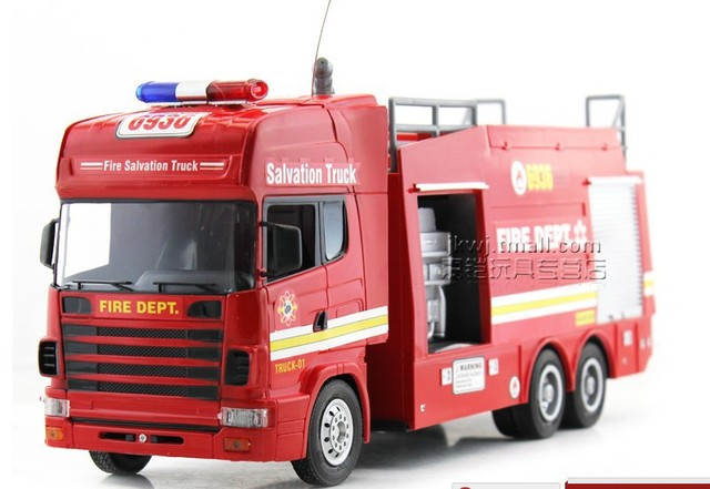 Children Kids RC Toy Car Truck Fire Truck Vehicles Water Shoot Out Siren LED High Simulation Train Future Firefighters Nice Gift