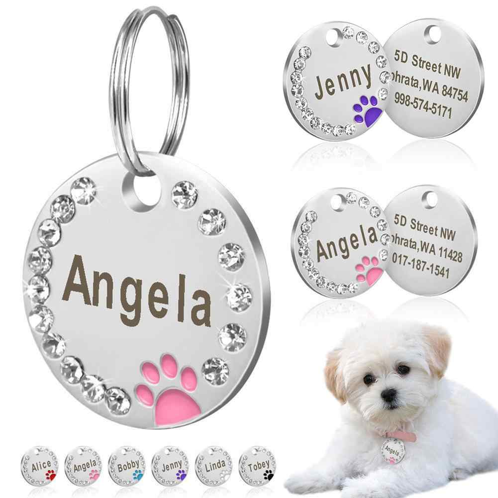 25mm Round Custom Engraved Dog Tag Pet Dog Collar Accessories Custom Cat Id Tag Stainless Steel Bone Paw Name Tags Anti-Lost