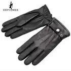 Guantes de cuero genuino de lujo guantes de cuero de moda para hombre, guantes de invierno populares para hombre, guantes de hombre, diseño negro a presión - 4