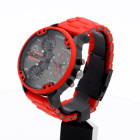 Luxury Brand Quartz Watch For Men Cool Big Men's Watches Man Red Watch Silicone Steel Band Dual Times Military Relogio Masculino