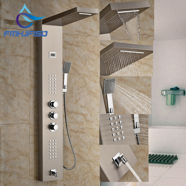 Beau Thermostatic Waterfall Rain Shower Panel Brushed Nickel Shower Column Jets  Tub Spout Shower Tap