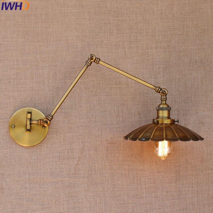 Loft Industrial adjustable Iron umbrella Wall light Fixture Vintage E27 <font><b>Edison</b></font> <font><b>LED</b></font> bulb wandlamp lamparas de pared lights lampen