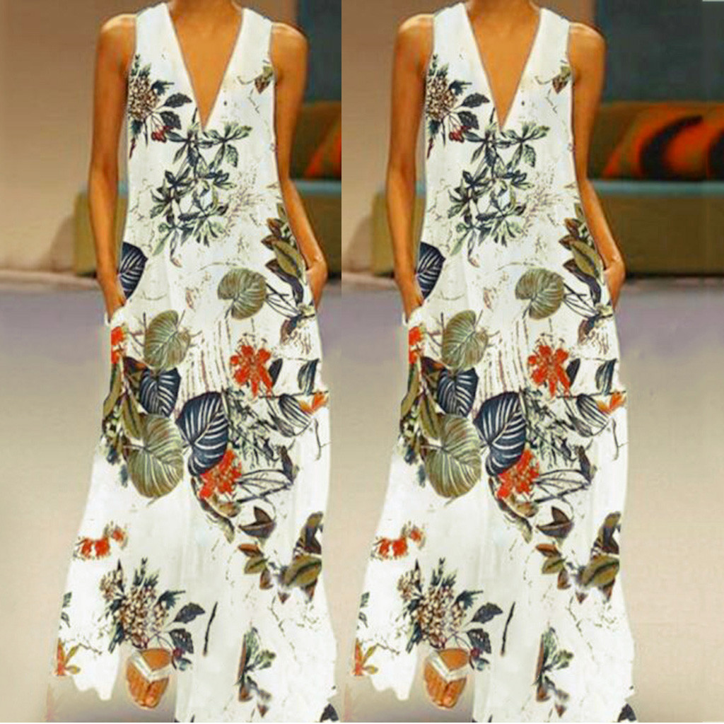 HTB1wOlZUPTpK1RjSZKPq6y3UpXaa KLV summerwomen dress dress 2019 's Casual Sleeveless V-neck Flower Print Maxi Tank Long Dress free shipping D4