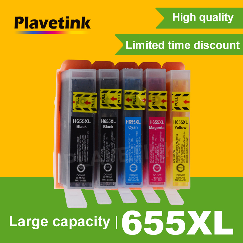 Plavetink 5PCS For HP655 Replacement For HP 655 XL 655XL Ink Cartridge Deskjet 3525 5525 4615 4625 4525 6625 Printer Cartridges image