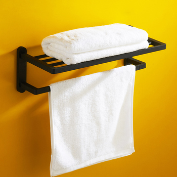 Vidric Black square high-grade bathroom towel rack wall mounted bathroom Double layer Shelf toalheiro