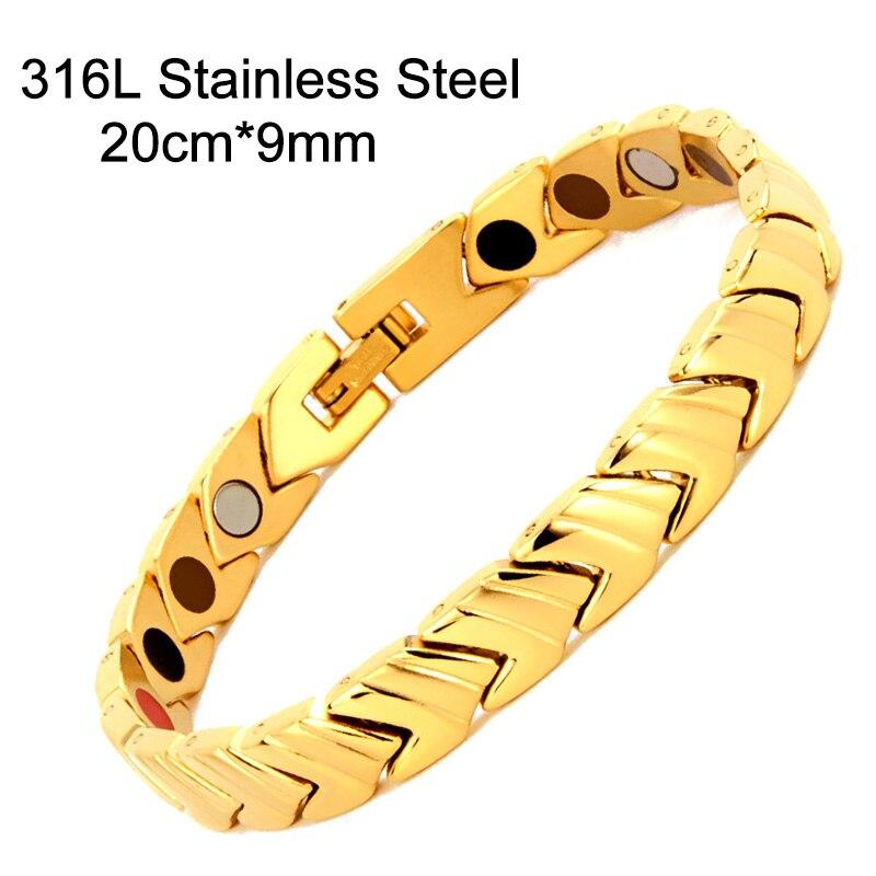 Bracelet de thérapie magnétique de bracelets porte-bonheur magnétique d'acier inoxydable de bijoux de mode des hommes 38 élégants