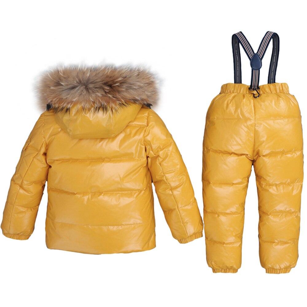 Image 2 -  30Degrees Russia Winter Ski Jumpsuit Children Clothing Boys Girls Sport Suit Kids Snow Wear Jackets coats Bib pants Waterproof-in Down & Parkas from Mother & Kids