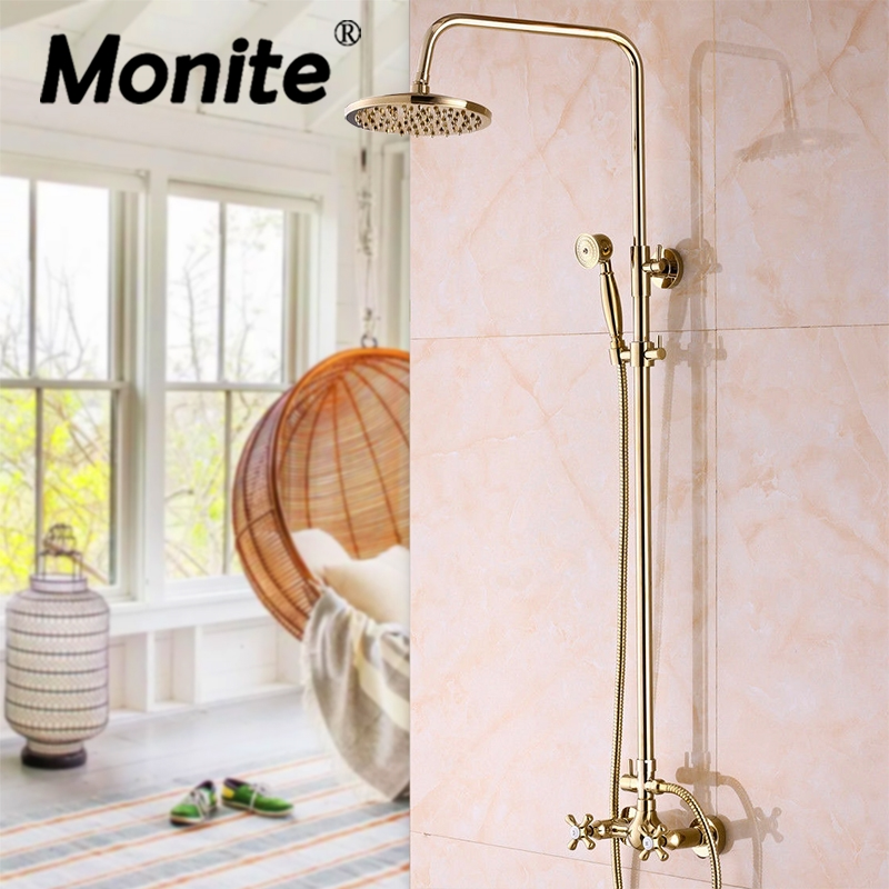 Luxury Gold Plated Bathroom BathTub Faucet Two Handles Adjustable Handheld Shower Head Faucet Mixer Tap Bathroom Shower Set