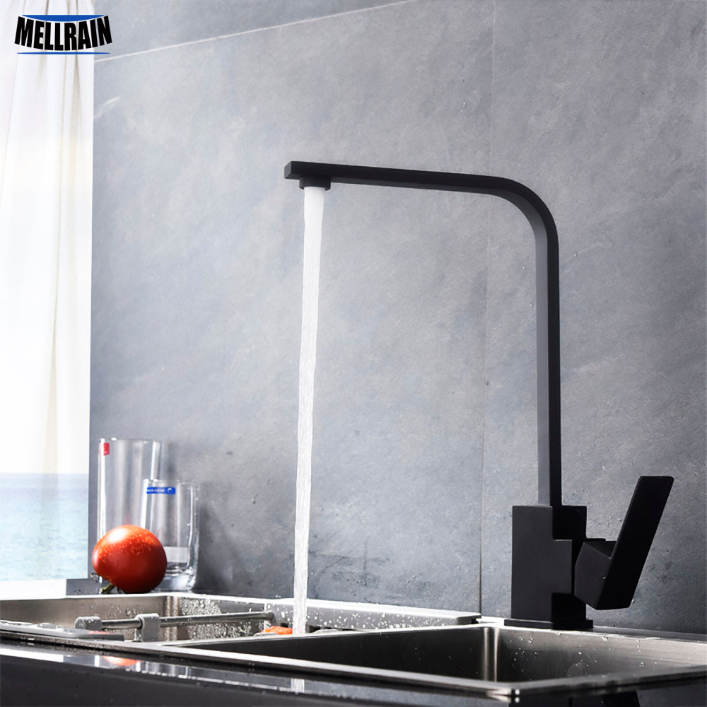 Matt Black Color Square Style Kitchen Mixer Faucet SUS304 Material Rotation Single Hole Deck Mounted Kitchen Sink Water Tap Matt Black Color Square Style Kitchen Mixer Faucet SUS304 Material Rotation Single Hole Deck Mounted Kitchen Sink Water Tap