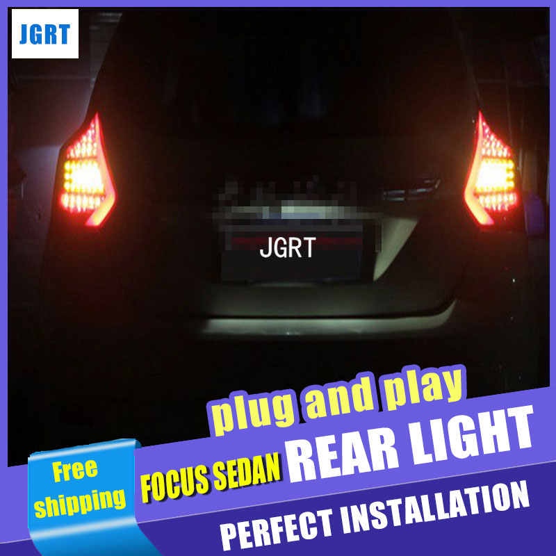Car Styling for <font><b>Ford</b></font> <font><b>Focus</b></font> 3 <font><b>Taillight</b></font> assembly 2012-2014 <font><b>Focus</b></font> Hatch Back LED Tail Light Rear Lamp DRL+Brake with hid kit 2pcs image