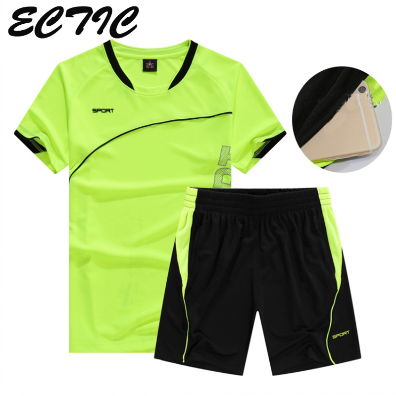 Two Piece Set Men Short Sleeve T Shirt Running Set Top+Shorts Men's Tracksuits 2018 New Sport Sportswear Tops Short Trousers