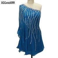 Горячая Распродажа синие шифоновые коктейльные платья 2018 элегантные, на одно плечо бисером Мини платье для встречи выпускников прямые блес