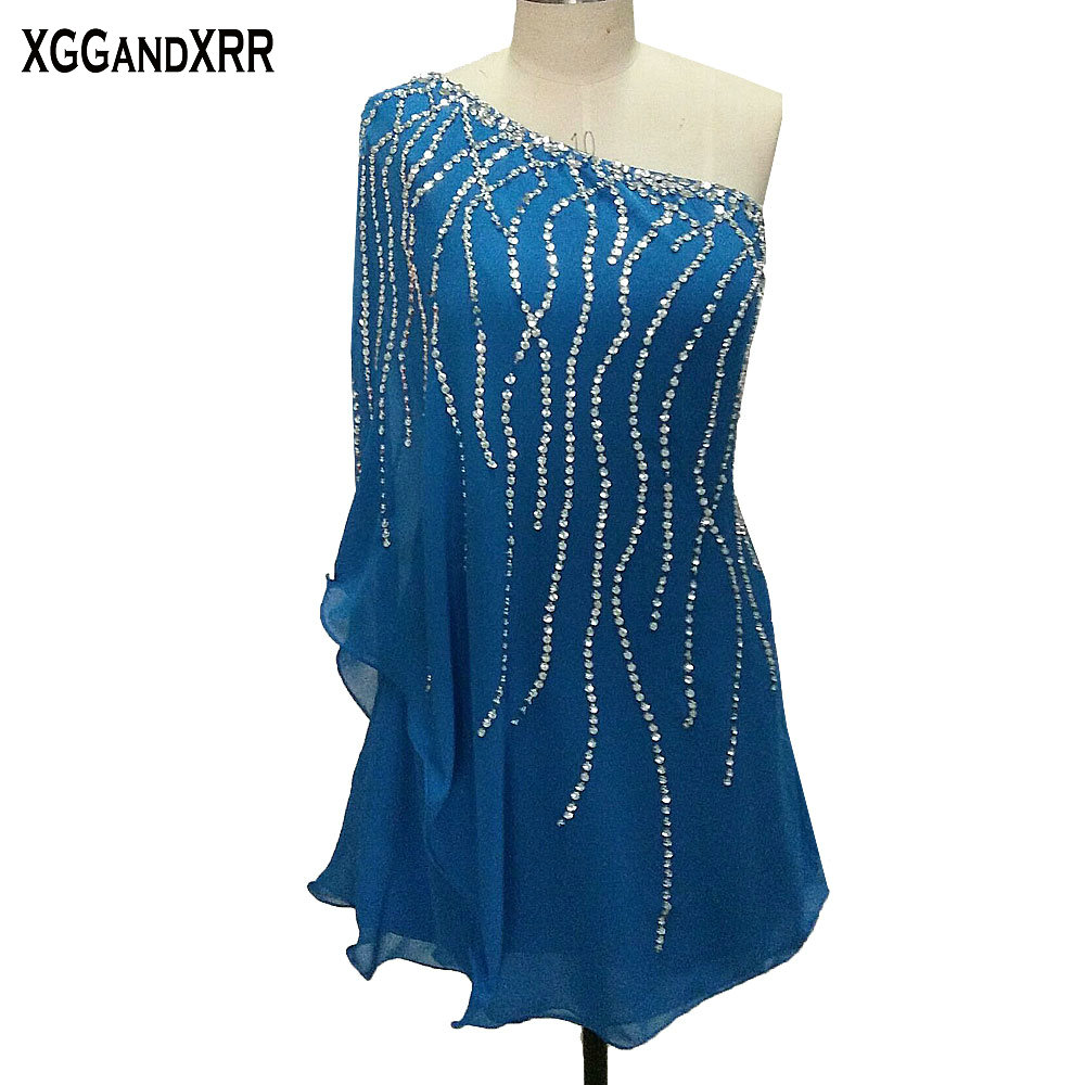 Hot Sale Blue Chiffon   Cocktail     Dresses   2018 Elegant One Shoulder Beaded Mini Homecoming   Dress   Straight Sequins Short Prom   Dress