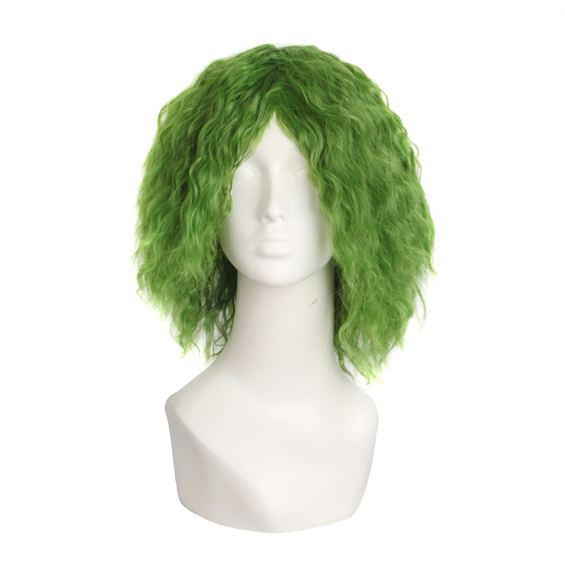 Batman Joker 35cm Curly Wig Green Cosplay Costume Wig Halloween Costumes Heat Resistant Hair Men Wig+Wig Cap