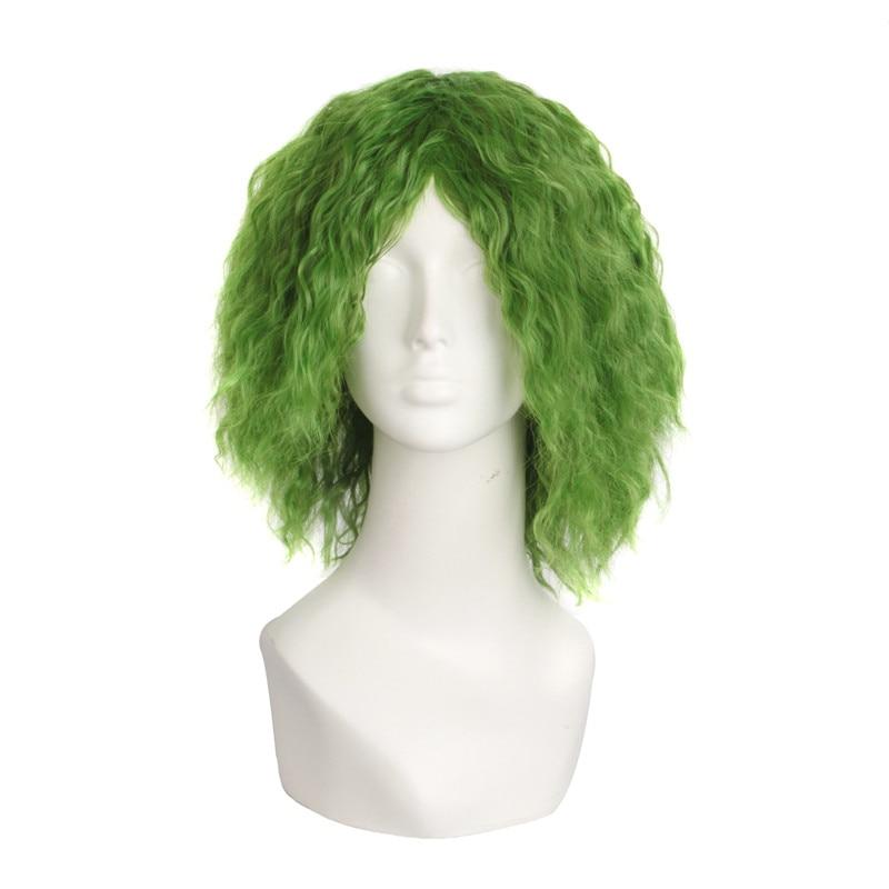 Batman Joker 35cm Curly Wig Green Cosplay Costume Wig Halloween Costumes Heat Resistant Hair Men Wig+wig Cap Traveling