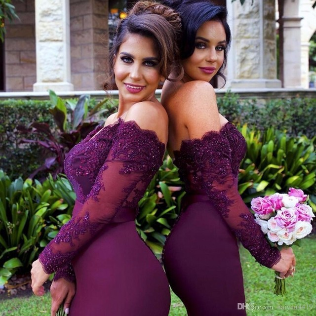 Sexy Lace Burgundy Bridesmaid Dresses 2018 hot Mermaid Long Sleeve Beaded  Long Bridesmaid Dress Formal Maid Of Honor plus size b2f7c6447ffa