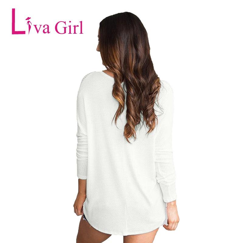 V Las Tops Casual Cuello Chica De Punto Moda Liva Anudada Sexy Para La Botón grey pink Primavera Y Larga Blusa white Manga Mujeres Blusas Black pq8755xw