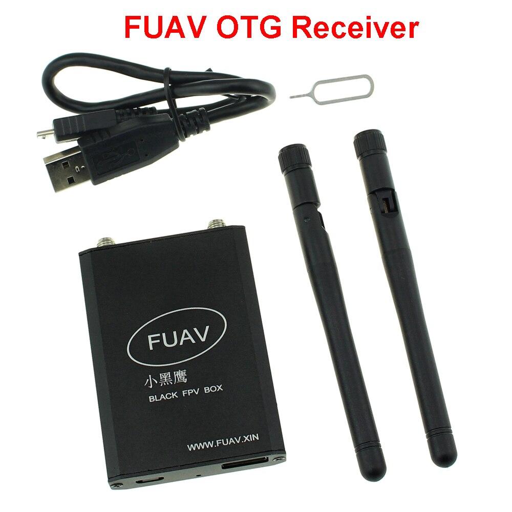 Oyuncaklar ve Hobi Ürünleri'ten Parçalar ve Aksesuarlar'de Siyah FPV Kutusu 5.8G FUAV OTG Alıcısı WIFI/Kablo Bağlı iOS android cep telefonu FPV Hava fotoğrafçılığı için/ yarış Drone'da  Grup 1