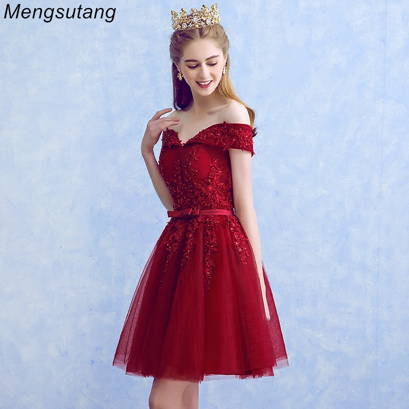 Robe de soiree Wine Red Boat Neck Beading Appliques Lace Elegant   Evening     Dresses   With Bow Banquet Formal Party Prom   Dress