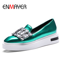 ENMAYER PU Material Slip On Flats Shoes Woman Med Heels Square Toe Crystal Solid Size34 43