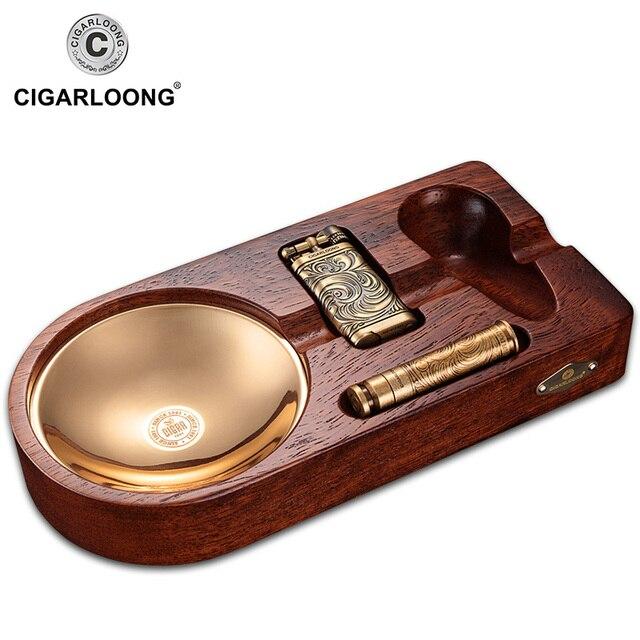 cigar ashtray 3pcs sets portable lighter with smoking pipe pressure bar 3pcs set gift box packaging CQ-0125 FOR CHRISTMAS GIFT