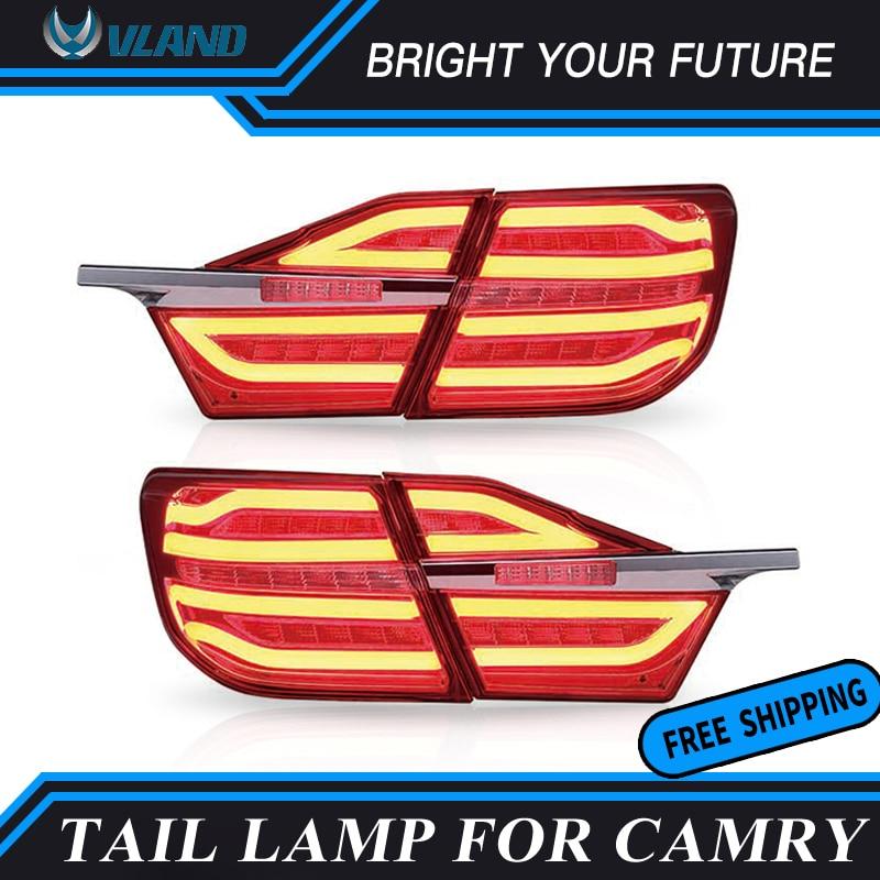 Feu arrière de voiture pour 2015 2016 Toyota Camry V55 Aurion feux arrière LED feux de virage rouge et fumée noire