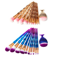 11 Pcs makeup Brushes Rose pink Mermaid Brush Eye Shadow Foundation Powder Eyebrow Makeup Fishtail Comestic Tool