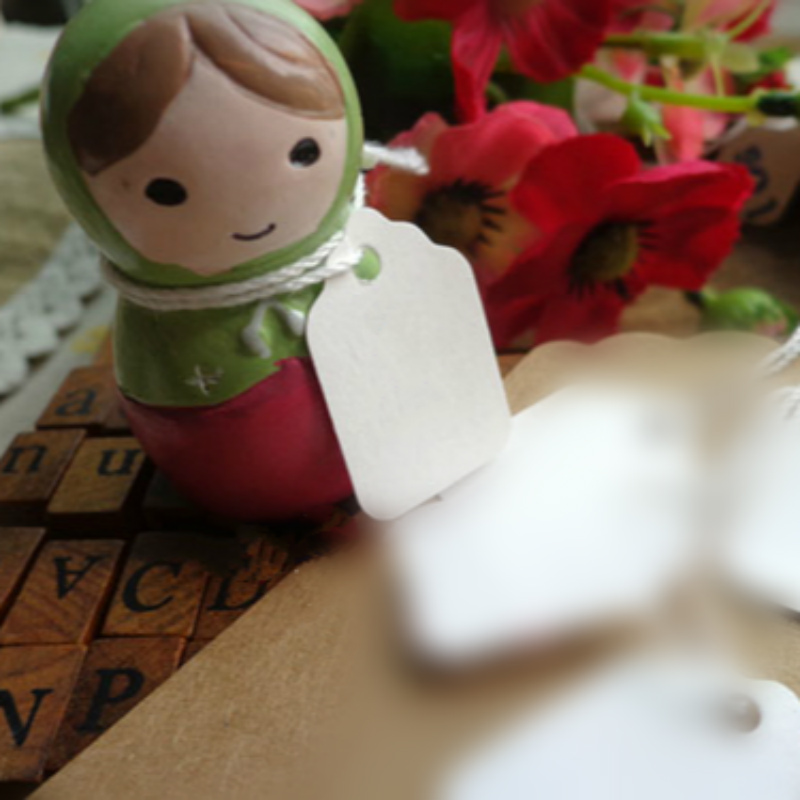 DIY White Blank Special Small Paper Tag Mini Tags with Rope Party Favor Handmade Message Card Luggage Tags 100pcs/lot