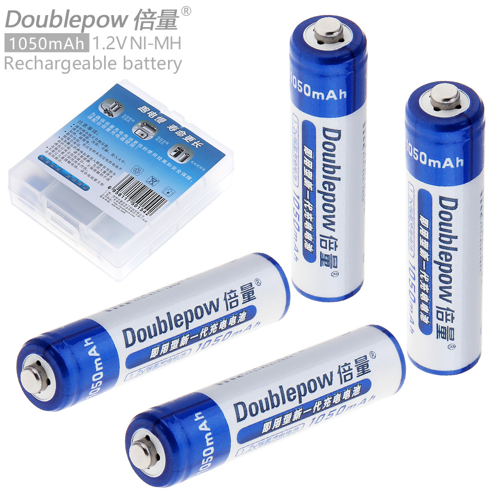 все цены на Doublepow 4pcs 1.2V AAA 1050mAh LSD Ni-MH Rechargeable Battery with Radiating Hole for Toys / Thermodetectors онлайн