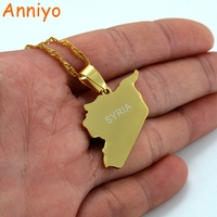 SYRIA Map Flag Necklaces Gold Plated Charms Pendant Necklaces Syrians Jewelry Middle East 007321