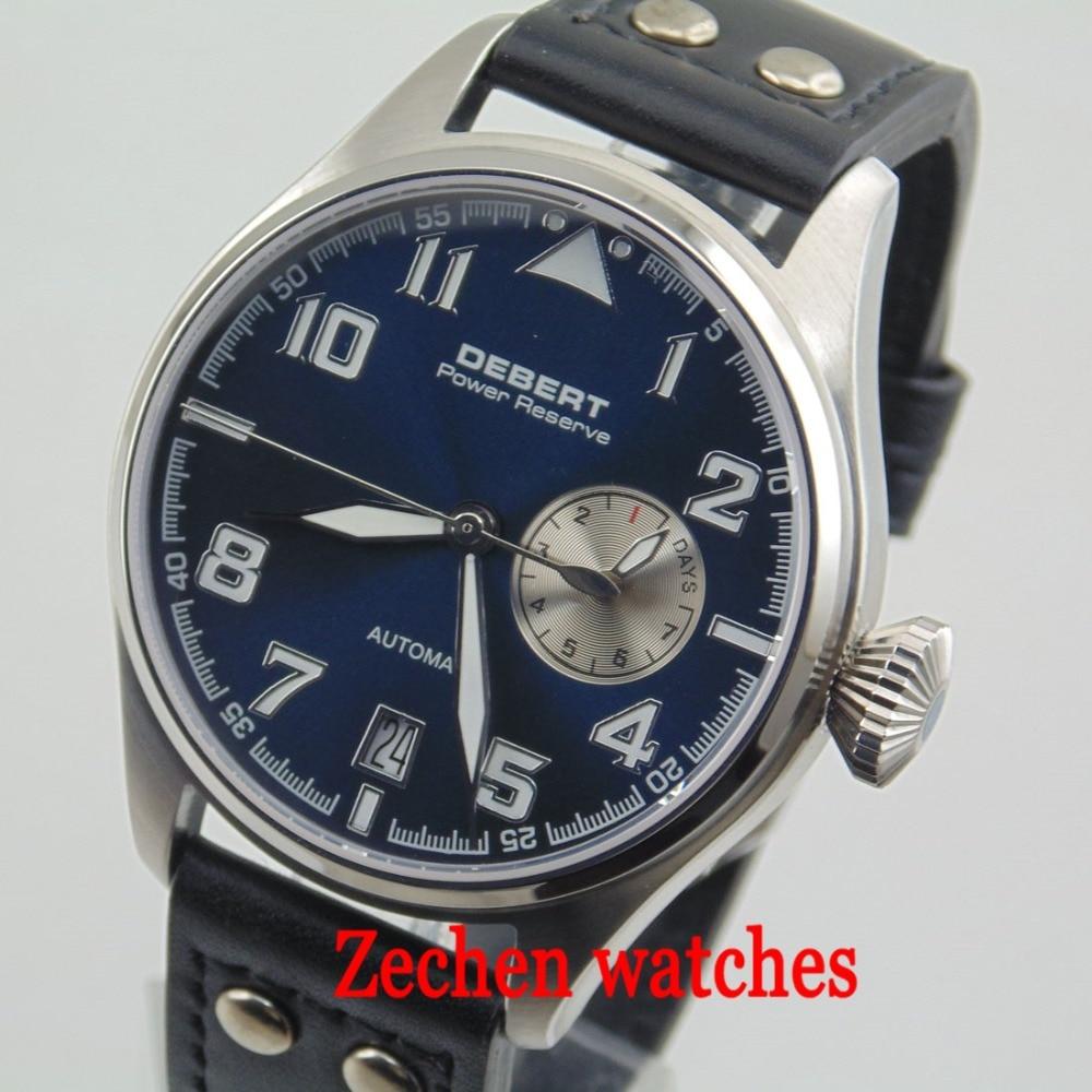 Debert 42mm Blue Dial Sapphire Power Reserve Luminous Automatic Mens Watch