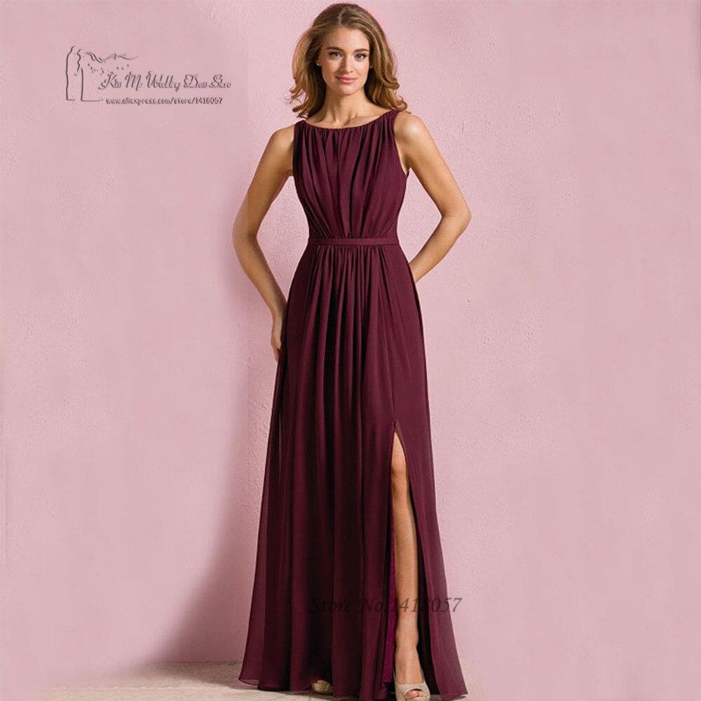 Burgundry barato Vestidos de dama de Honor 2017 Plisada Azul Marino ...