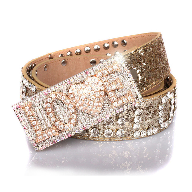 Genuine leather belt for women rhinestone belts buckle cowskin strap sliver color free shipping