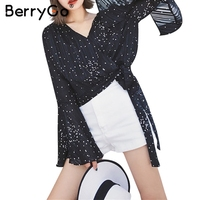 BerryGo Summer Flare Sleeve Polka Dot Blouse Women Christmas Casual Tie Up Black Chiffon Blouse Vneck