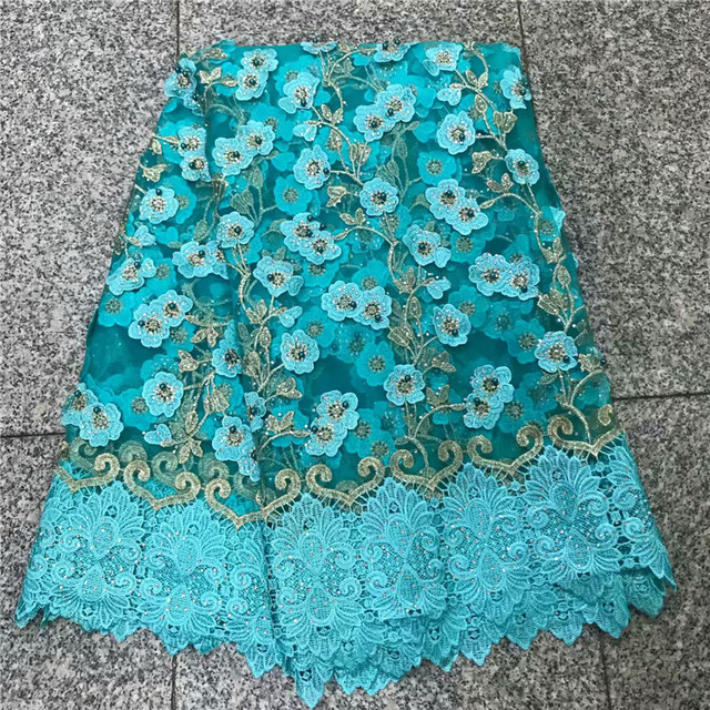 2018 New Style French Embroidered Net Lace Fabric 3D flower African Tulle Lace Fabric High Quality African Lace Fabric NLY28-2