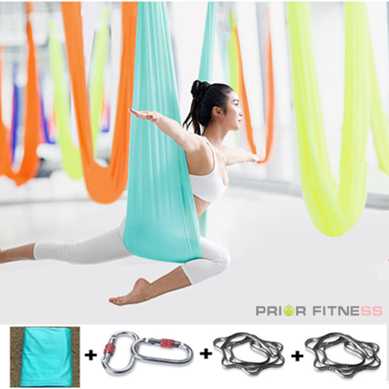 Ensemble de hamac de yoga anti-gravité Swing 20 couleurs 5m aérien Flying Bodybuilding Workout Fitness Equipment 100% Garantie de qualité