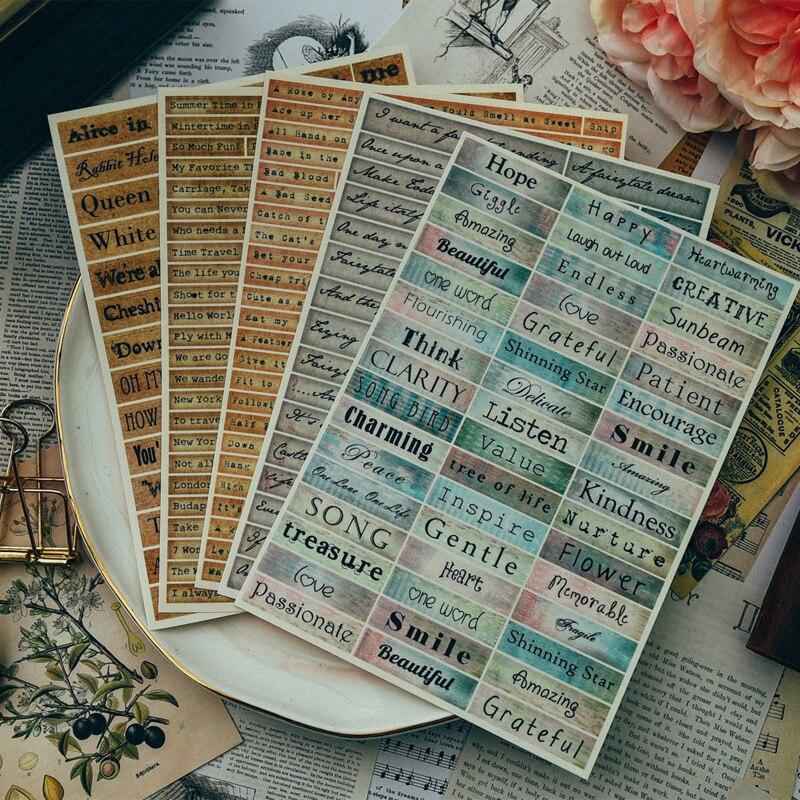 Autocollants de Phrases Vintage pour les projets de Scrapbooking bricolage/Album Photo/artisanat de fabrication de cartesAutocollants de Phrases Vintage pour les projets de Scrapbooking bricolage/Album Photo/artisanat de fabrication de cartes