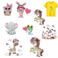 ZOTOONE Cute Cat Cartoon Animal Iron On Patches Clothes Sticker DIY Unicorn Letter Thermal Heat Transfer for T-shirt Printed H