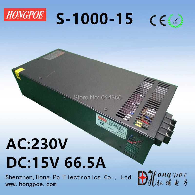 цена на Wholesale 5pcs 1000W power supply 15V Power Supply 15V 66A AC-DC High-Power PSU 15V 1000W S-1000-15 15V66A